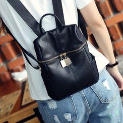 Bam's - Faux Leather Zip Backpack