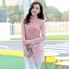 AiSun - Lace Panel Embellished Long-Sleeve Top