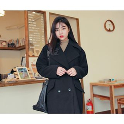HOTPING - Double-Breasted Loose-Fit Coat