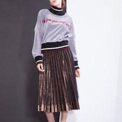 Halona - Long-Sleeve Knit Panel Top