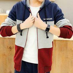 AFAM - 套裝: 撞色連帽外套 + 運動褲