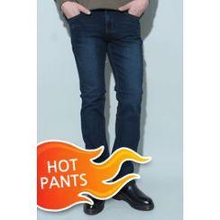 Ohkkage - Fleece-Lined Washed Jeans