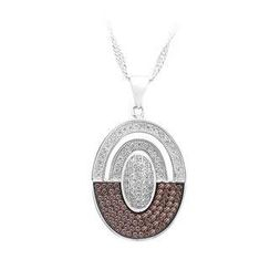 BELEC - 925 Sterling Silver Oval Pendant with Brown and White Cubic Zircon and Necklace