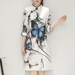 Diosa - 3/4-Sleeve Butterfly Print Cheongsam