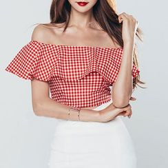 Dimanche - Set : Plaid Cutout Shoulder Top + Skirt