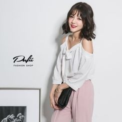 PUFII - Off-Shoulder Tie-Front Chiffon Blouse