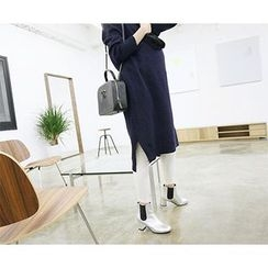 MARSHMALLOW - Mock-Neck Slit-Side Long Knit Dress