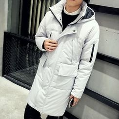 Bay Go Mall - Plain Hooded Long Padded Coat