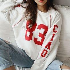 NANING9 - Raglan-Sleeve Lettering Sweatshirt