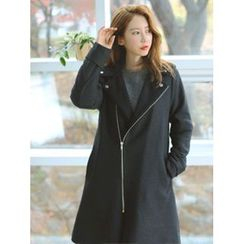 LOLOten - Diagonal-Zip Wool Blend Coat