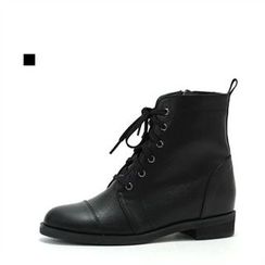 MODELSIS - Genuine Leather Lace-Up Zip-Side Boots