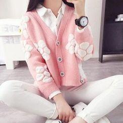 Pecora - Flower Patterned Cropped Cardigan
