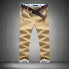 Alvicio - Floral Trim Cropped Pants