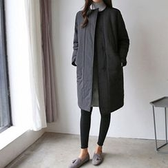 Hello sweety - Round-Neck Snap-Button Coat