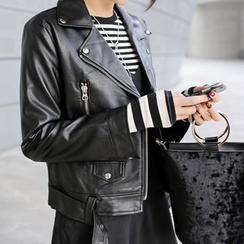 WITH IPUN - Belted Diagonal-Zip Faux-Leather Jacket