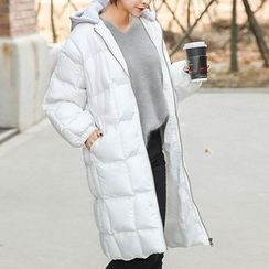 Seoul Fashion - Detachable Hooded Zip-Up Padded Long Coat