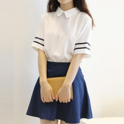 Fancy Show - Set: Striped-Trim Blouse + Denim Skirt
