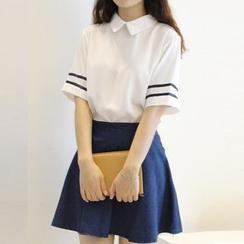 Fancy Show - 套装: 条纹边衬衫 + 牛仔裙