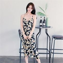clubber - Floral Sleeveless Long Dress