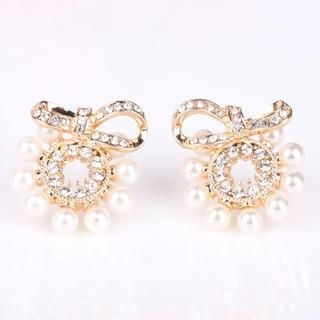 Supermary - Rhinestone Bow Beaded Earring