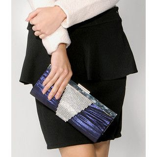 yeswalker - Rhinestone Pleated Clutch