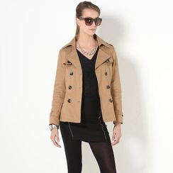 YesStyle Z - Belted Double-Breasted Trench Coat