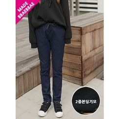 BBAEBBAE - Drawstring-Waist Fleece-Lined Tapered Jeans