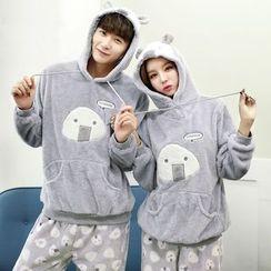 SHIRLEY - Couple Matching Pajama Set: Cartoon Hoodie + Printed Pants