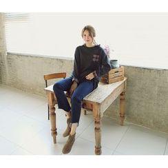 LOLOten - Band-Waist Cutout-Hem Boot-Cut Jeans