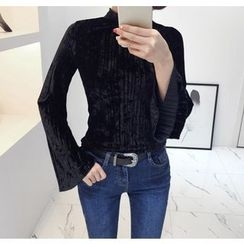 Miamasvin - Mock-Neck Pleated Velvet Top