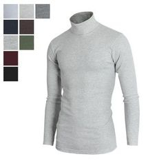 DANGOON - Turtle-Neck Colored Slim-Fit Top
