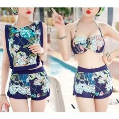 Jumei - Set: Floral Print Bikini + Cover-Up Top