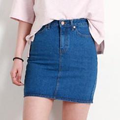 blue babe - High-Waist Denim A-Line Skirt
