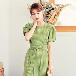 HOTPING - Puff-Sleeve Checked Midi Dress With Sash
