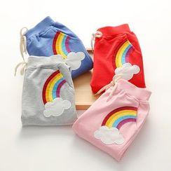 貝殼童裝 - 童裝彩虹貼布繡抽繩褲