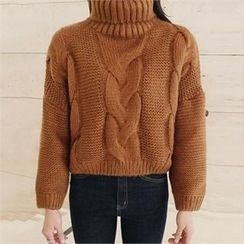 LIPHOP - Turtle-Neck Cable-Knit Top