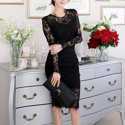 Sherbo - Set: Long-Sleeve Cropped Lace Top + Lace Pencil-Cut Skirt