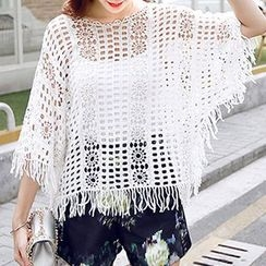 Fashion Street - Perforated Batwing Cover-up