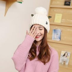 Milliner - Pompom-Accent Wing Beanie