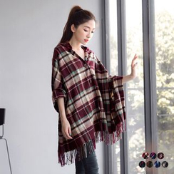OrangeBear - Hooded Check Fringe Poncho