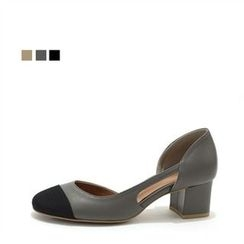 MODELSIS - Genuine Leather Chunky-Heel Pumps