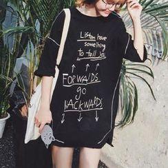 Oyal - Elbow-Sleeve Lettering Long T-Shirt
