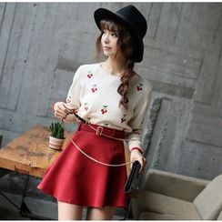 YOZI - Set: Cherry Sweater + Belted A-Line Skirt