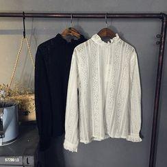 芷蓯夕 - 荷葉領蕾絲襯衫