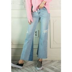 REDOPIN - Distressed Boot-Cut Jeans