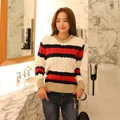 DABAGIRL - Faux-Pearl Trim Stripe Cable-Knit Sweater