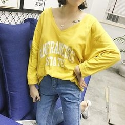 EKOOL - Long-Sleeve V-Neck Lettering T-Shirt