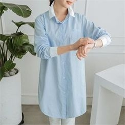 JOAMOM - Color-Block Long Shirt