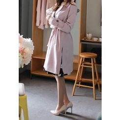 MyFiona - Notched-Lapel Trench Coat with Sash