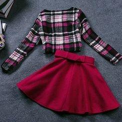 Fashion Street - Set: Plaid Top + A-Line Skirt